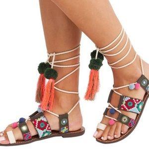 Sam Edelman Boho Gretchen Pom Gladiator Sandals